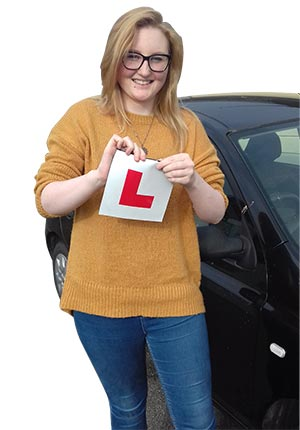 Millie Tuplin celebrates passing her driving test with Jack Westerby Driving School.